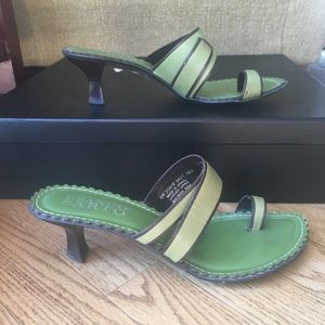 Franco Sarto Green Heeled Sandal Slides